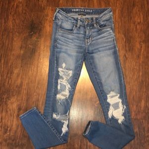 american eagle distressed jeggings size 2 EUC